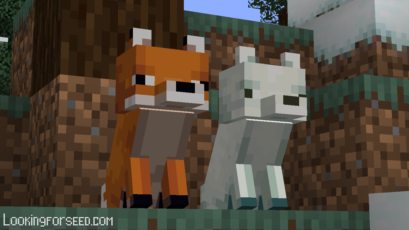 Red Fox and Arctic Fox sitting together