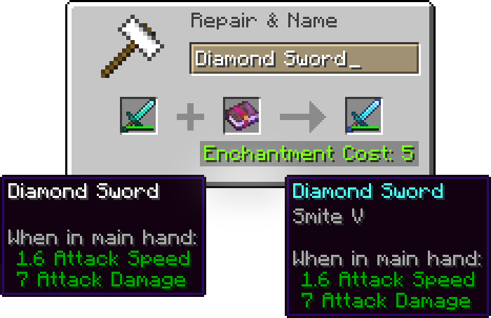 Giving Enchantment to an Item using Anvil