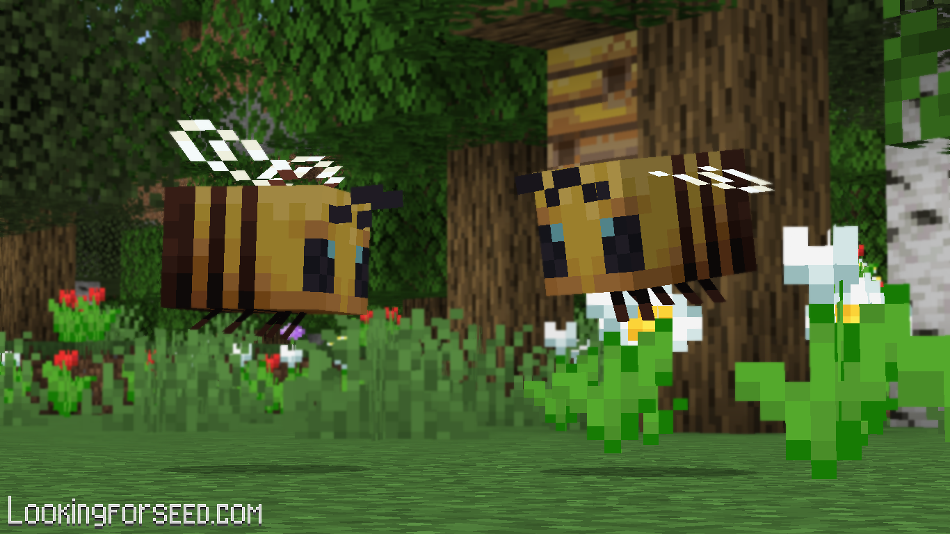 Two Bees flying next to each other