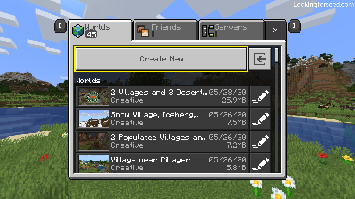 Creating new Minecraft world in Minecraft Bedrock Edition