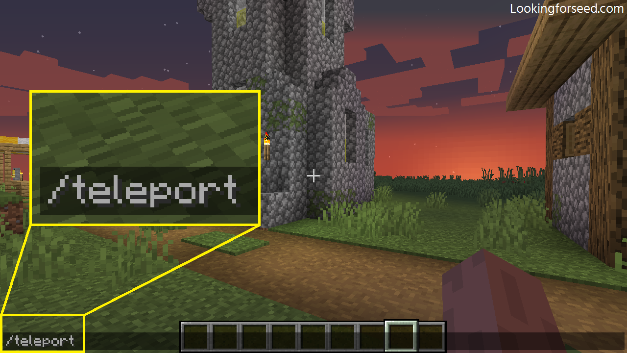 Using teleport command in Minecraft