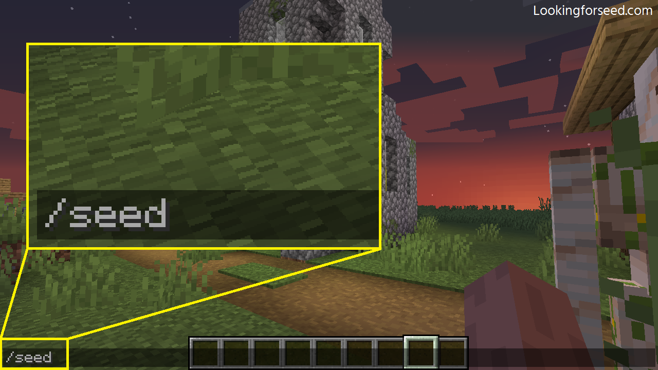 Typing Seed command in Minecraft Java Edition