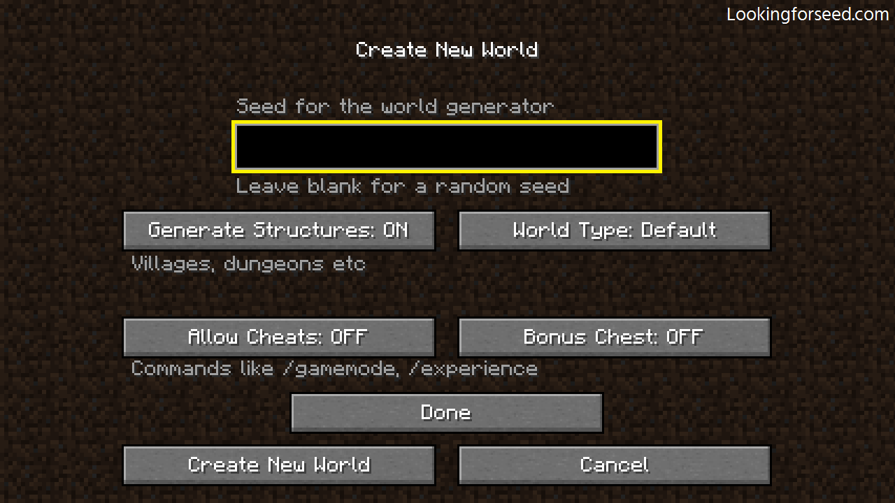 Inserting seed in the seedbox in Minecraft Java Edition