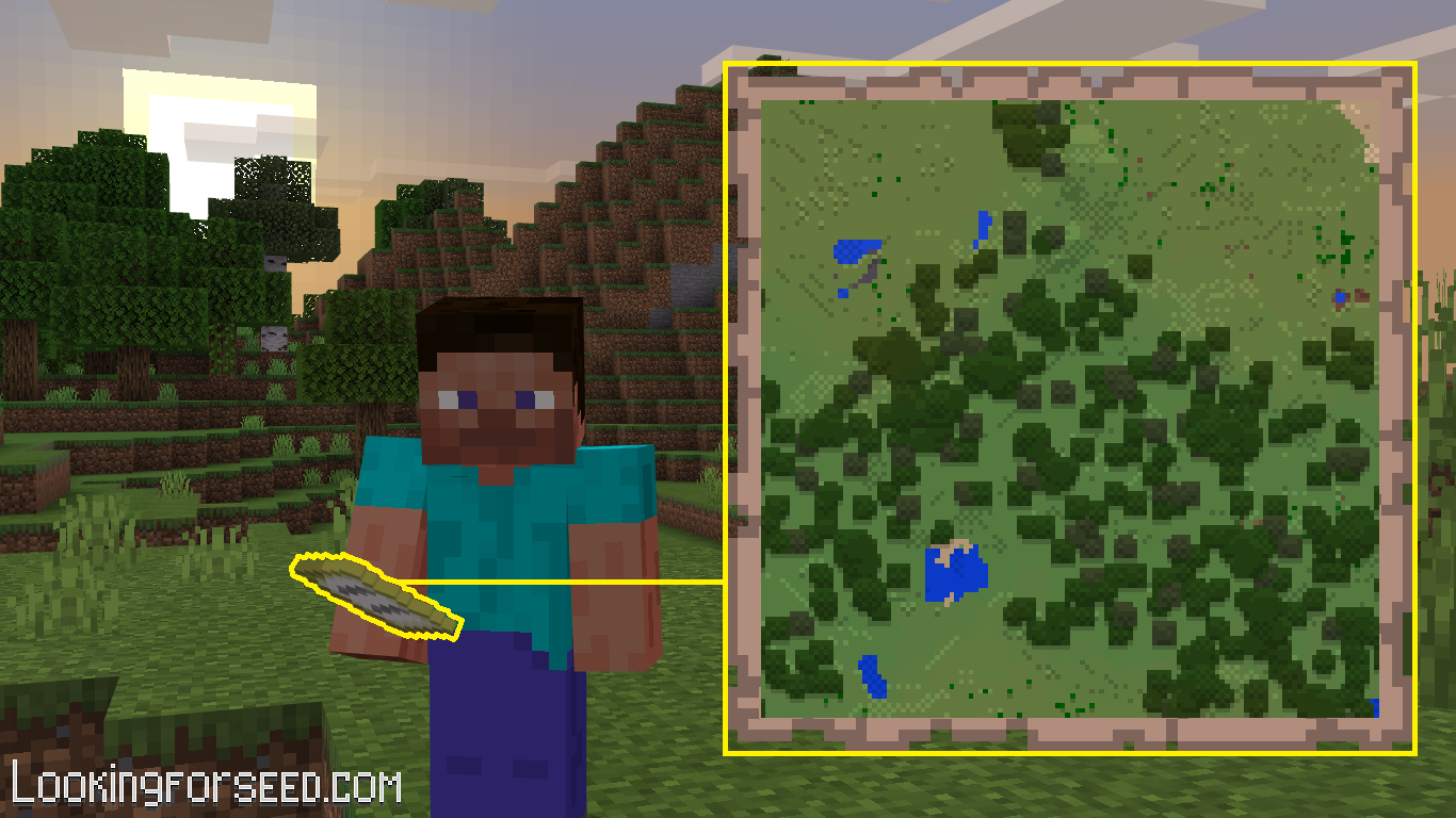 Steve using Map Minecraft