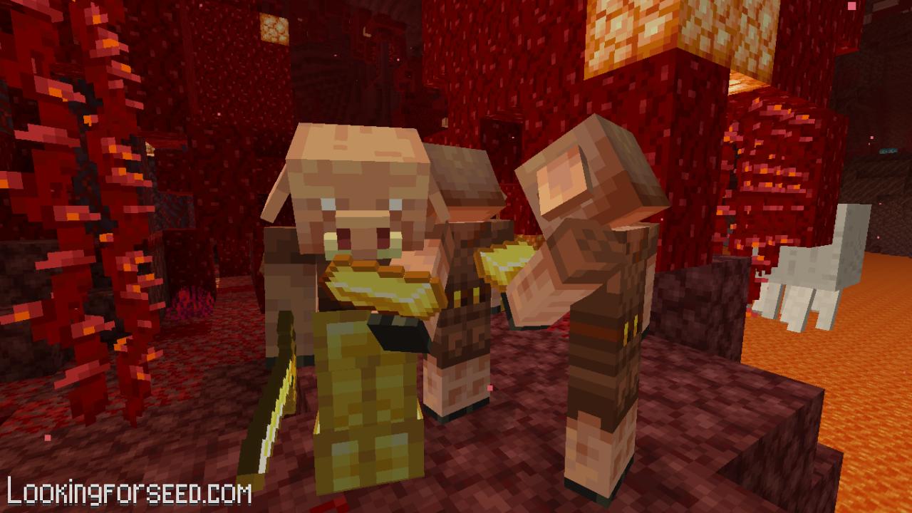 Piglins examining Gold Ingot