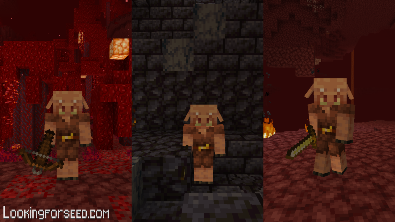 Piglins spawn in Crimson Forest, Bastion Remnant, and Nether Wastes
