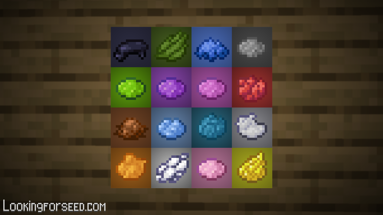 All Dyes in Minecraft